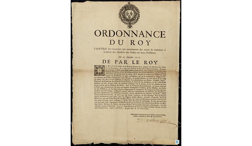 Affiche de l'Ordonnance du Roy à l'encontre des violences faites sur les maîtres des Postes, 1676