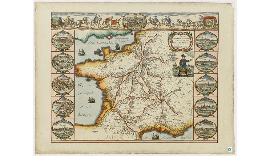 Carte générale de toutes les postes passant par Paris. Paris : A. Bérey, 1626