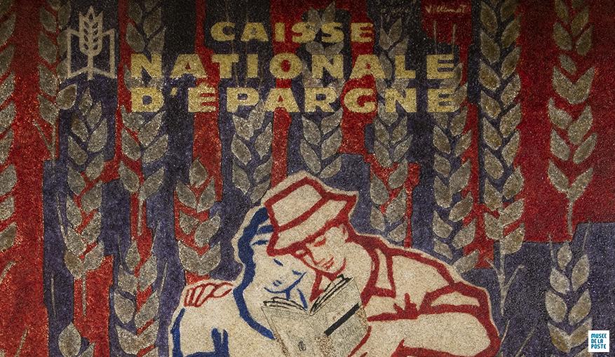 Détail - Bernard Villemot, Caisse nationale d'épargne. Décor publicitaire provenant du bureau de poste de Clermont-Ferrand - Vallières (63), Affiche imprimée sur verre dépoli, 1962
