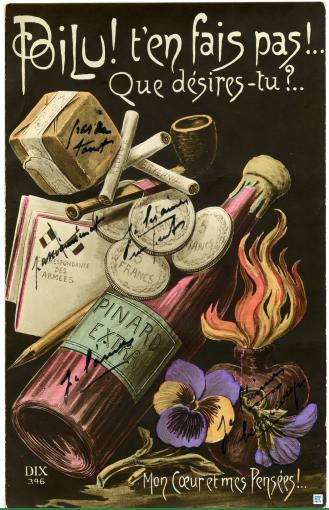 Poilu ! t'en fais pas !... Que désires-tu ?... , carte postale - Tirage bromure en couleur, début XXe siècle