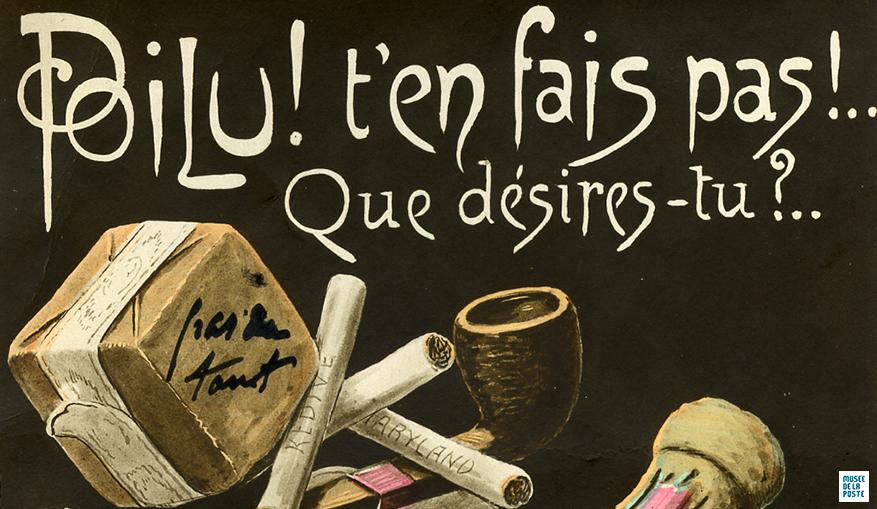 Détail - Poilu ! t'en fais pas !... Que désires-tu ?... , carte postale - Tirage bromure en couleur, début XXe siècle