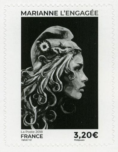 Yseult Digan, dessinateur et Elsa Catelin, graveur - Marianne l'engagée, timbre-poste -  Impression en taille-douce, 2018 © Adagp, Paris, 2019 © Musée de La Poste - La Poste, 2019