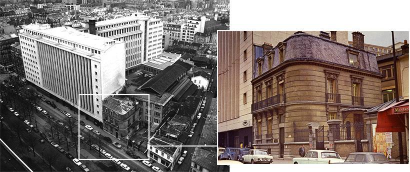 Le siège de la Compagnie Générale de Radiologie, vue aérienne et vue terrestre, vers 1970.