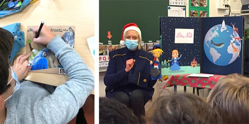 Deux photos d'animation en classe : un atelier mail art en primaire, une animation Nino en maternelle.