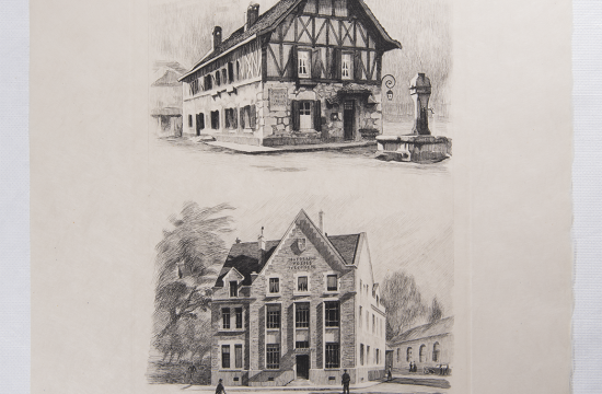 Jules Piel - Bureaux de poste de Peyrieu (Ain) et de Saulieu - Gravure sur papier extraite de l'ouvrage La Poste en France au milieu du 20e siècle, 1950