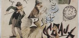 Fréderic Pioche, Enveloppe illustrée et adressée à Alphonse Perrault, gouache et aquarelle, 1905