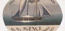 Paquebots poste français. Huile sur papier goudronné, marouflée sur tôle, vers 1860.